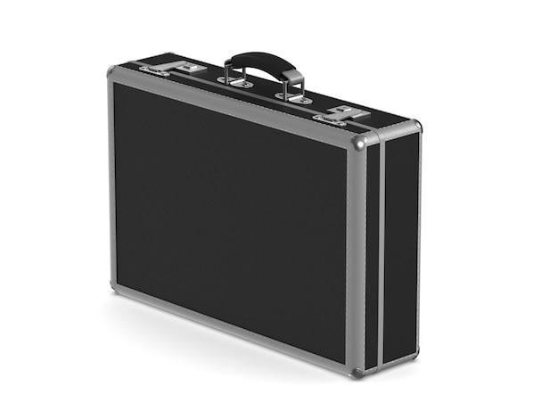 Geschlossene schwarze business-tasche. isoliertes 3d-rendering