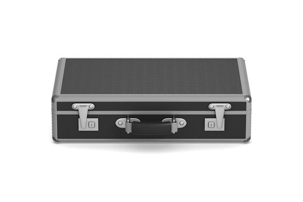 Geschlossene schwarze reisetasche auf weiß. isolierte 3d-illustration