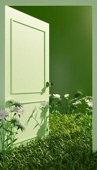 Geschlossener plan einer offenen grünen tür mit vegetation und blumen auf dem boden. 3d-illustration