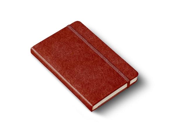 Geschlossenes notebook-modell aus leder isoliert auf weiß on
