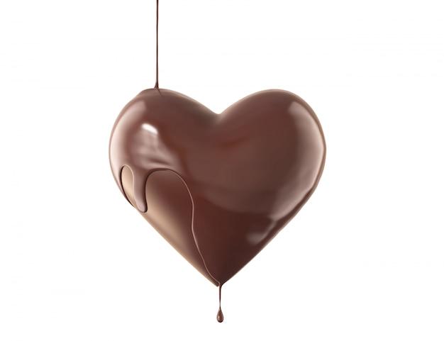 Geschmolzene herzförmige schokolade auf weißem hintergrund