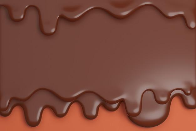 Geschmolzene milchbraune schokolade fließt nach unten., 3d-modell und illustration.