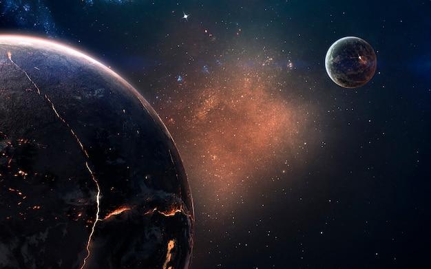 Geschmolzener kern des brennenden planeten. deep space image, science-fiction-fantasie in hoher auflösung, ideal für tapeten und drucke. elemente dieses bildes von der nasa geliefert