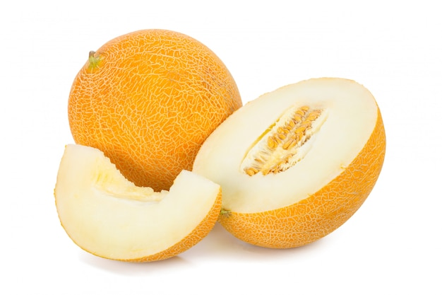 Geschnittene melone getrennt