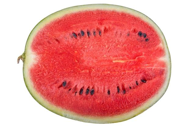 Geschnittene wassermelone isoliert auf weißem hintergrund