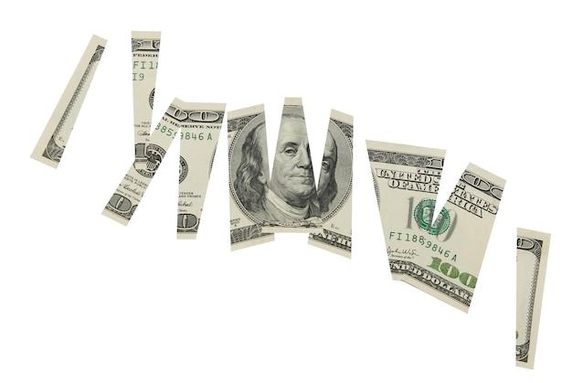 Geschnittenes dollar-banknotengeld-finanzkonzept lokalisiert auf weißem hintergrund