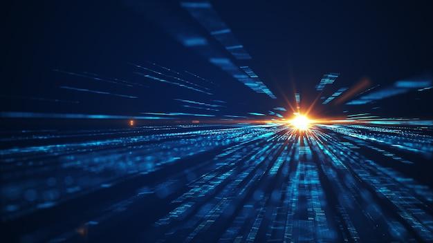 Geschwindigkeit des hintergrunds der digitalen lichter. fliegende digitale technologie über dunklem hintergrund. abstrakter hintergrund der futuristischen technologie mit linien für netzwerk, big data, rechenzentrum, server, internet, geschwindigkeit.