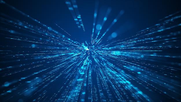 Geschwindigkeit des hintergrunds der digitalen lichter. fliegende digitale technologie über dunklem hintergrund.