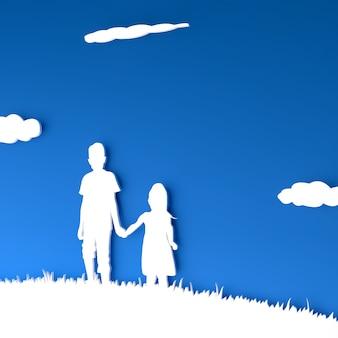Geschwister, die händchen halten in 3d-silhouette