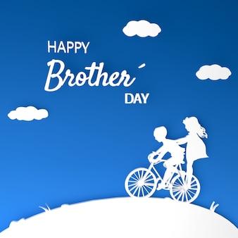Geschwister-silhouette auf 3d-fahrrad mit text