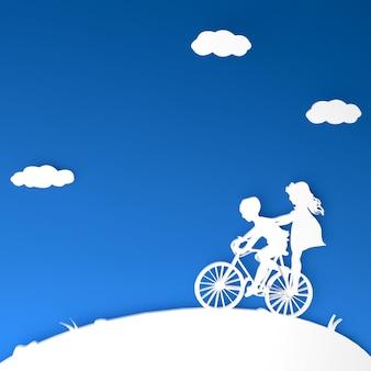 Geschwister-silhouette auf 3d-fahrrad