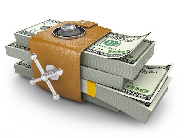 Geschwollene geldbörse und zahlenschloss
