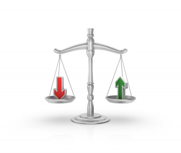 Gesetzliche gewichtsskala mit pfeilen