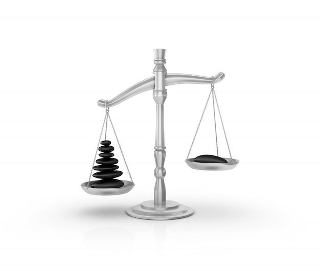 Gesetzliche gewichtsskala mit steinen