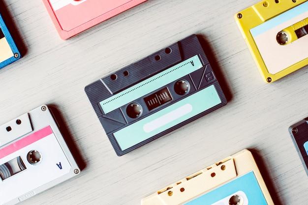 Gesetzte sammlung der kassettenband-weinlese