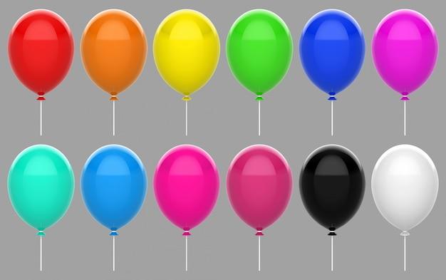 Gesetzte sammlung des bunten sich hin- und herbewegenden ballons mit dem beschneidungspfad lokalisiert auf grauem hintergrund.