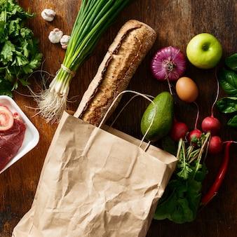 Gesetzte unterschiedliche biokost der papiertüte flache lage