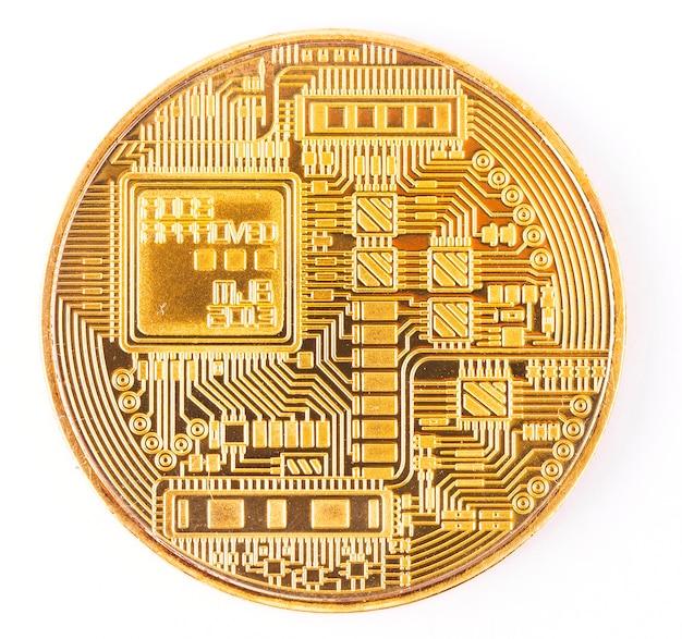 Gesicht der goldenen bitcoin der kryptowährung