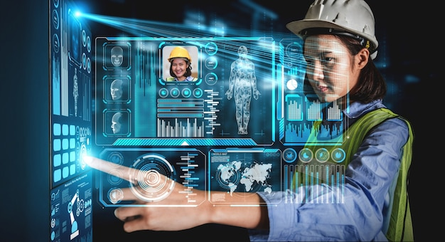 Gesichtserkennungstechnologie für industriearbeiter, um auf die maschinensteuerung zuzugreifen