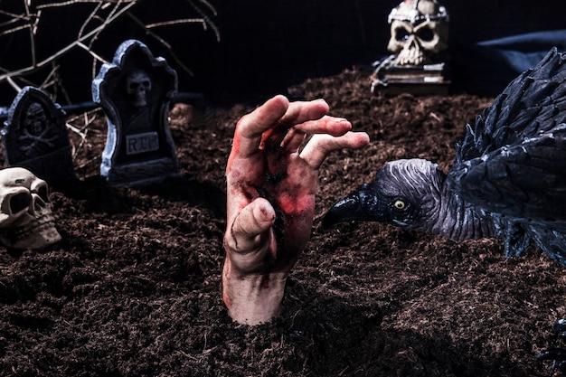 Gespenstischer vogel, der versucht, zombiehand am halloween-friedhof zu beißen