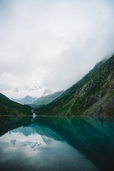 Gespenstischer wald nahe gebirgssee am frühen morgen. gebirgsbach vom gletscher fließt in see. auf glatter wasseroberfläche wellen. tiefe wolken. dunkle atmosphärische neblige hölzerne landschaft. ruhige atmosphäre.