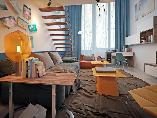 Gestaltung eines jugendzimmers mit einem blauen trendigen sofa und zwei gelben designer-tischen.