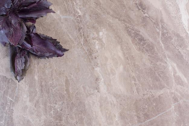 Gestapeltes bündel amaranthblätter auf marmoroberfläche