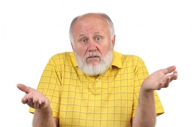 Gesten des älteren kahlen mannes