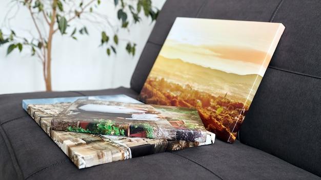 Gestreckte fotoleinwanddrucke mit galeriewickel auf rahmen
