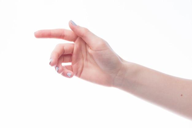 Gestreckte hand auf weißem hintergrund
