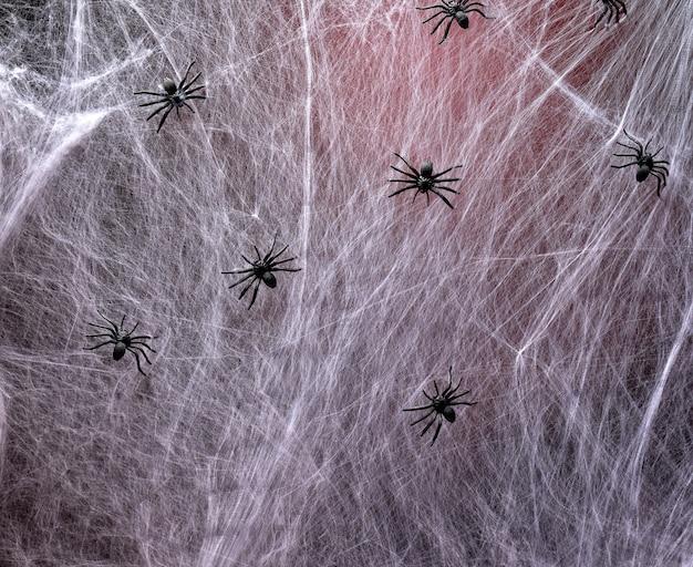 Gestrecktes weißes netz mit roter hintergrundbeleuchtung und schwarzen spinnen