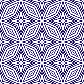 Gestreiftes handgezeichnetes muster. lila symmetrischer kaleidoskophintergrund. sich wiederholende gestreifte handgezeichnete fliese. textilfertiger künstlerischer druck, badebekleidungsstoff, tapete, verpackung.