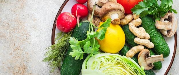 Gesunde ernährung frisches gemüse ernten neue früchte bio gesunde keto oder paläo diät vegetarisches veganes oder vegetarisches essen