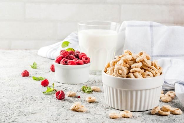 Gesunde frühstückszutaten. frühstücksflocken-maisringe, milch- oder joghurtglas, himbeeren und minze