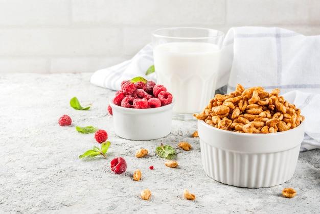 Gesunde frühstückszutaten. frühstücksflocken, milch- oder joghurtglas, himbeeren