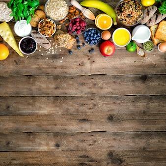 Gesunde frühstückszutaten, lebensmittelrahmen.