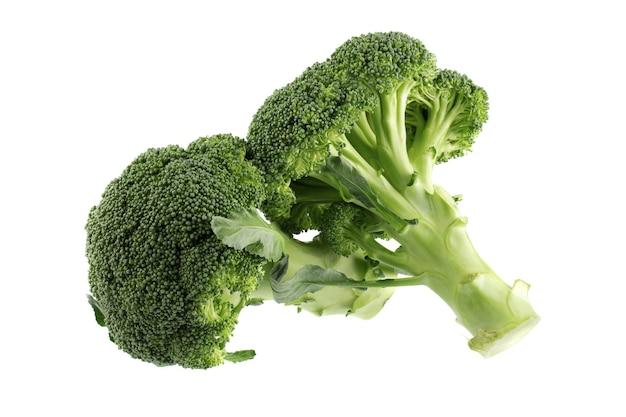 Gesunde grüne organische rohe brokkoliröschen, die zum kochen bereit sind, lokalisiert auf weiß