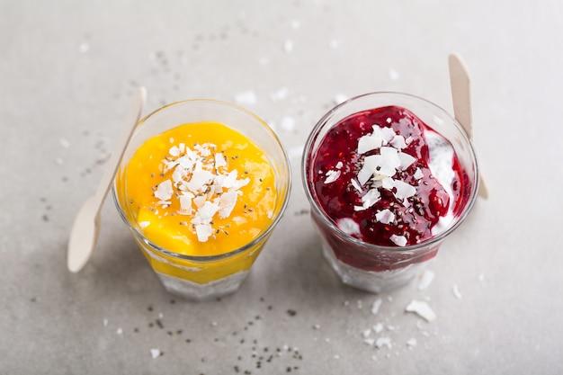 Gesunde joghurtnachtische mit chiasamen