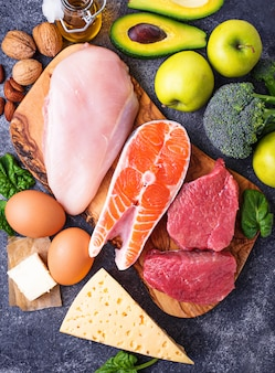 Gesunde kohlenhydratarme produkte. ketogene diät.