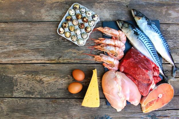 Gesunde lebensmittel tierischen ursprungs. konzept der richtigen ernährung.