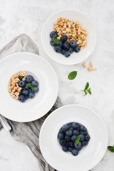 Gesunde morgennahrung blaubeeren und nüsse