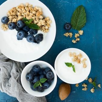 Gesunde morgennahrung draufsichtbeeren
