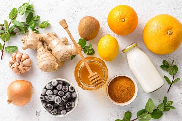 Gesunde produkte für die immunität, die die draufsicht stärken.