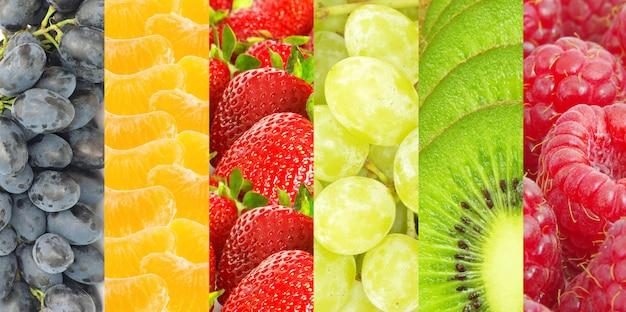 Gesundes essen hintergrund. sammlung mit verschiedenen früchten und beeren