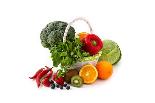 Gesundes essen, obst und gemüse isoliert