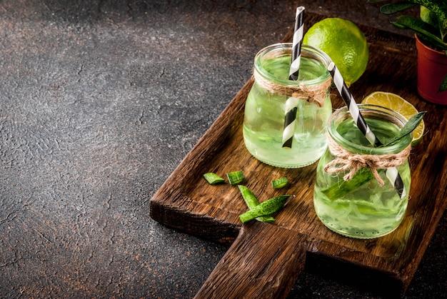 Gesundes exotisches detoxgetränk, aloe vera oder kaktussaft mit limette, auf dunkler oberfläche