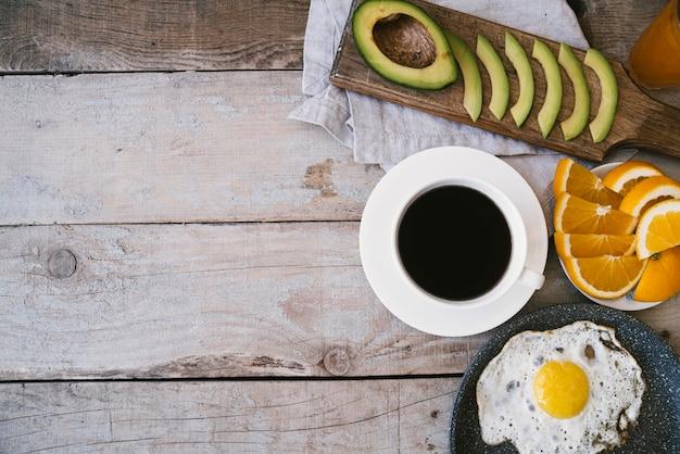 Gesundes frühstück der draufsicht mit kopienraum