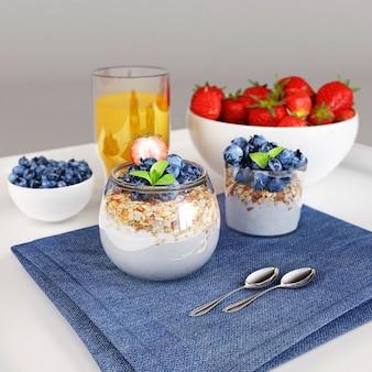 Gesundes frühstück - hausgemachtes haferflocken mit frischen blaubeeren, erdbeeren und weißem joghurt