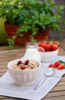 Gesundes frühstück - müsli mit lyophilisat himbeere und frischen erdbeeren