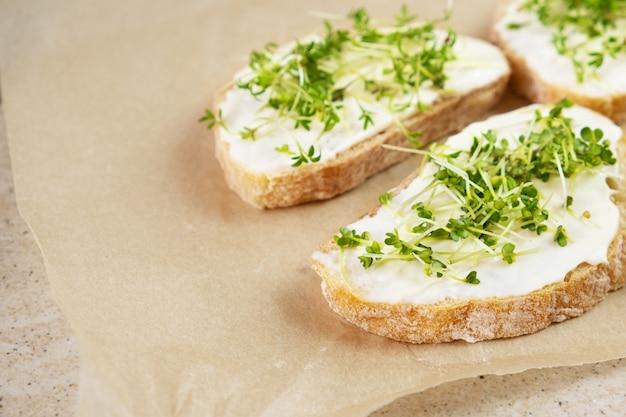 Gesundes frühstück. sandwich mit frischkäse und microgreens.